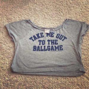 """Take Me Out To The Ball Game"" PINK Crop Top-"